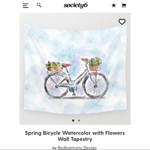 Brand New Watercolor Bike Tapestry from Society6